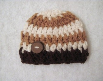 Crochet Baby Beanie Size Newborn Chunky With Stripes In Cream And Caramel With Dark Brown Trim