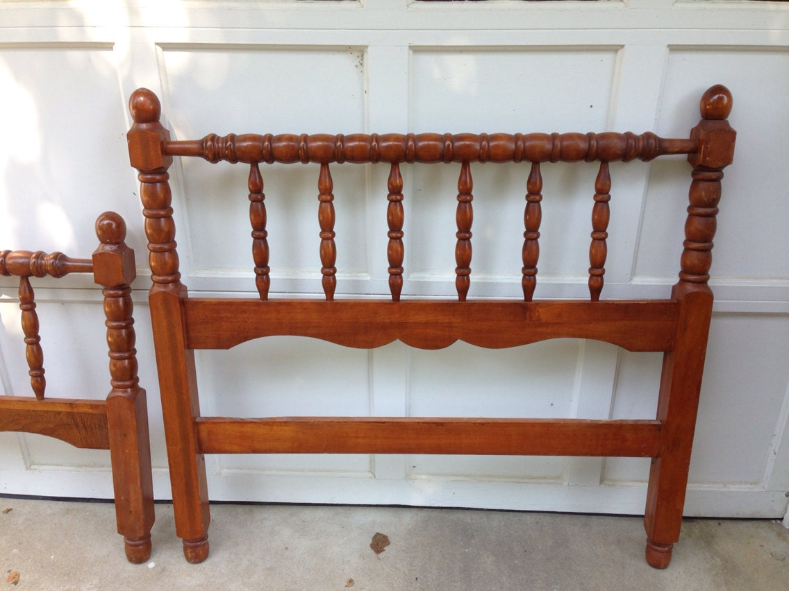 Antique Twin Spindle Headboard Footboard Bed