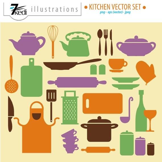 Items similar to vector kitchen set kitchen clip art for Kitchen set items