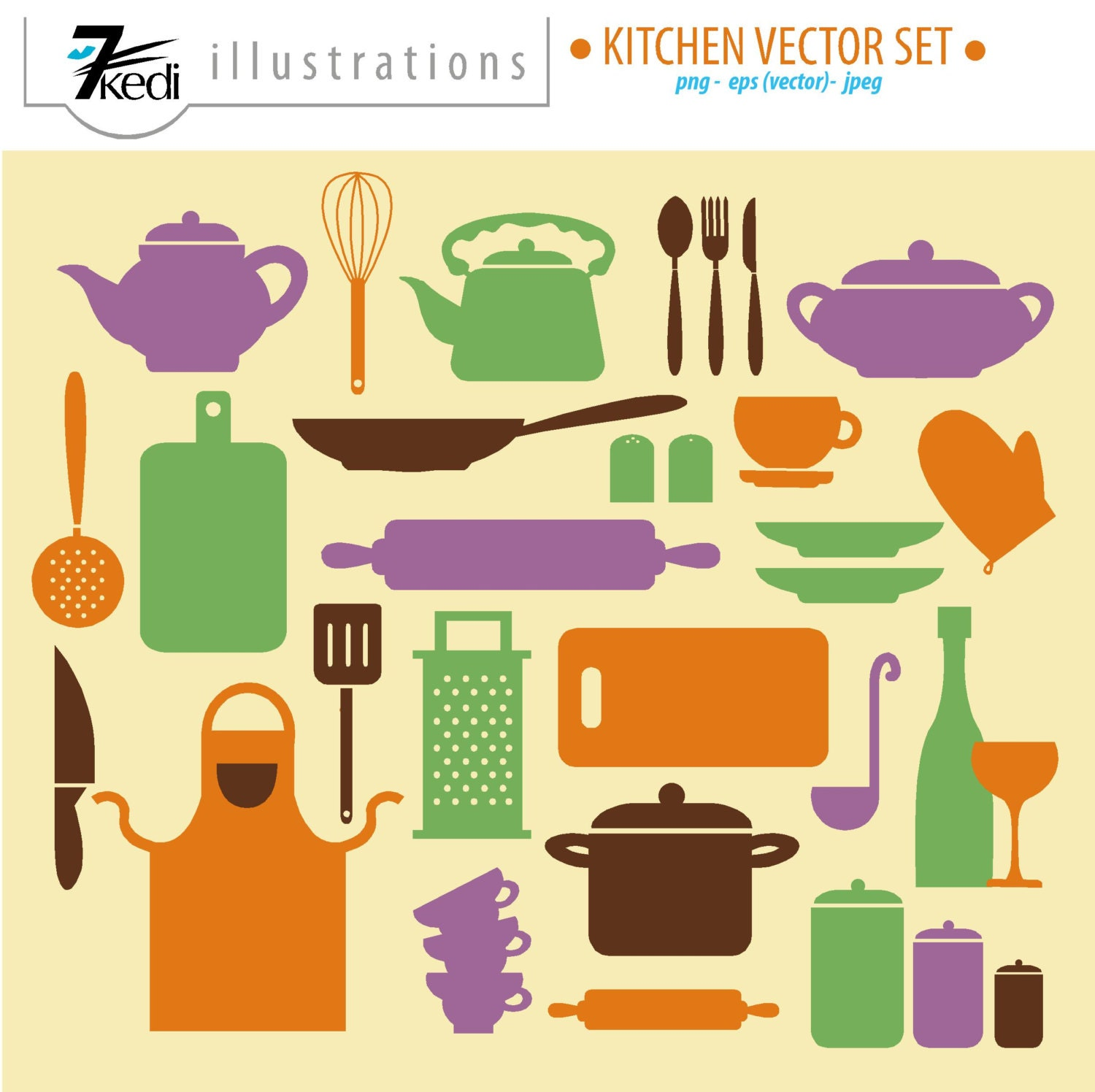 Vector Kitchen Set Kitchen Clip Art Kitchen Graphics By 7kedi