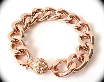 Magnetic Pave Ball Bracelet -Celebirty Bracelet - Chain bracelet