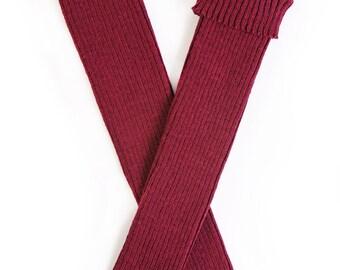 Woolen ribbed Leg warmers/Arm warmers/legwear/boot socks/warm/red/gray/brown/lambswool/women