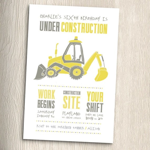 Items Similar To Construction Birthday Party Invitation