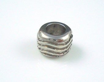 Stainless Steel Bead, 5MM Hole Grooved Bead for Leather or Cord,  Ribbed Stainless Steel Bead (SSB1)