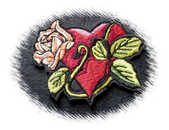 Rose heart tattoo iron on patch embroidered biker