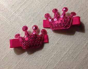 Sequin Crown Clip Set of 2