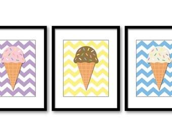 Ice Cream Cones Nursery Art Child Baby Art Print Set of 3 Vanilla, Chocolate and Strawberry Kids Room Wall Art Nursery Decor
