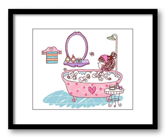 items similar to girl in bathtub tub bathroom drawing art print child baby kids room girls wall. Black Bedroom Furniture Sets. Home Design Ideas