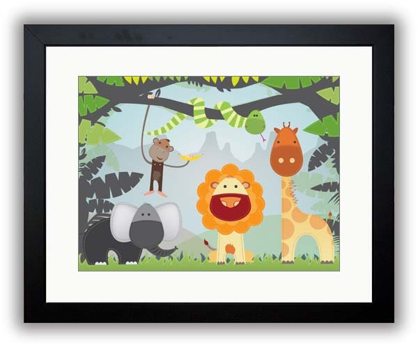 African Animals Giraffe Lion Monkey Elephant Nursery Art Nursery Print Child Baby Kids Room Wall Art
