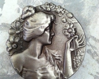 Vintage Silver Lady Floral Belt Buckle Jewelry Accessory