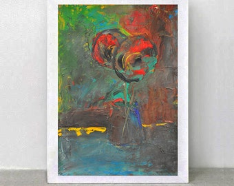 Original oil Painting - Still Life with Tulips.Free Shipping