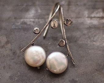 USE CODE ! SALE 10 - 20 % off • Freshwater White Pearl Earrings in Sterling Silver • simple elegant earrings • gift for her
