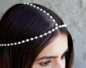 THE DIANE White Pearl Crown Hair Chain Head Jewelry In Silver 1920's style Prom Glamorous Headpiece Classy Coachella Spring Summer Festival