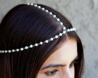 THE DIANE White Pearl Crown Hair Chain Head Jewelry In Silver 1920's style Prom Glamorous Headpiece Classy  Spring Summer Festival Christmas