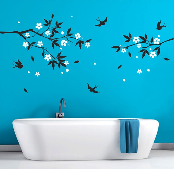 bathroom wall decals vinyl art natural tree branch with flowers