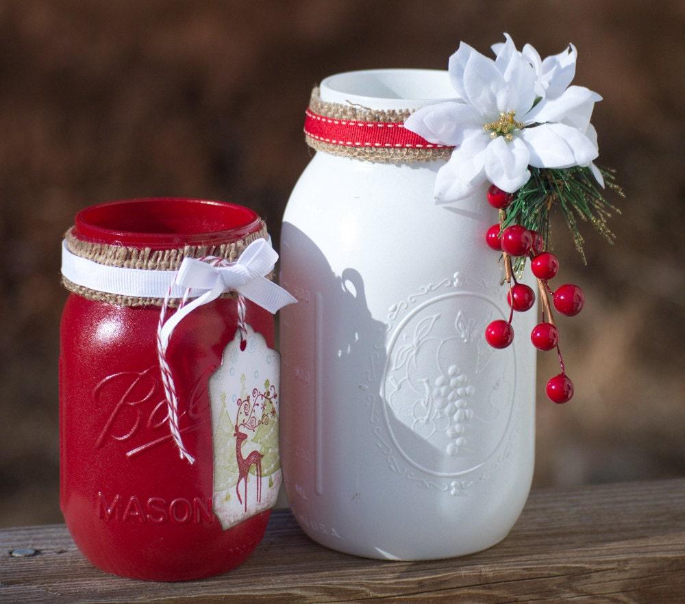 What To Put In Mason Jars For Decoration: Painted Mason Jars Christmas Decor Hand By WNCarolinaGirl