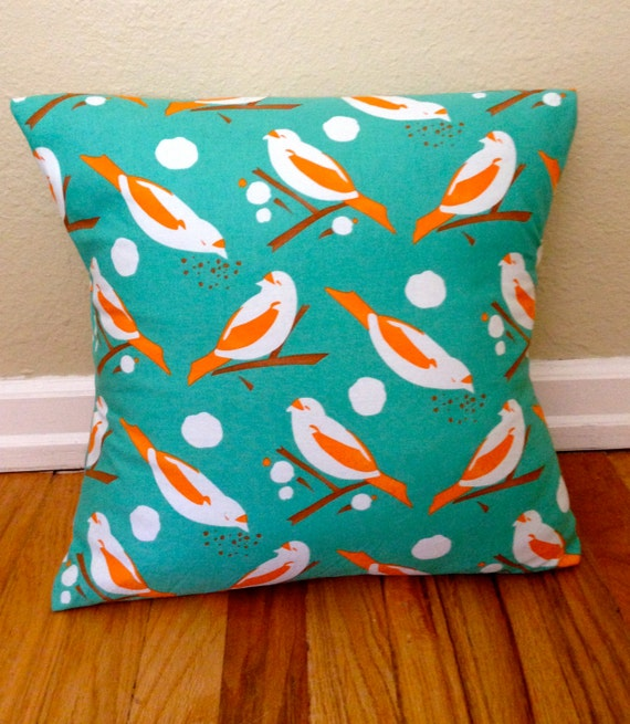 bird print turquoise and orange throw pillow cover. Black Bedroom Furniture Sets. Home Design Ideas