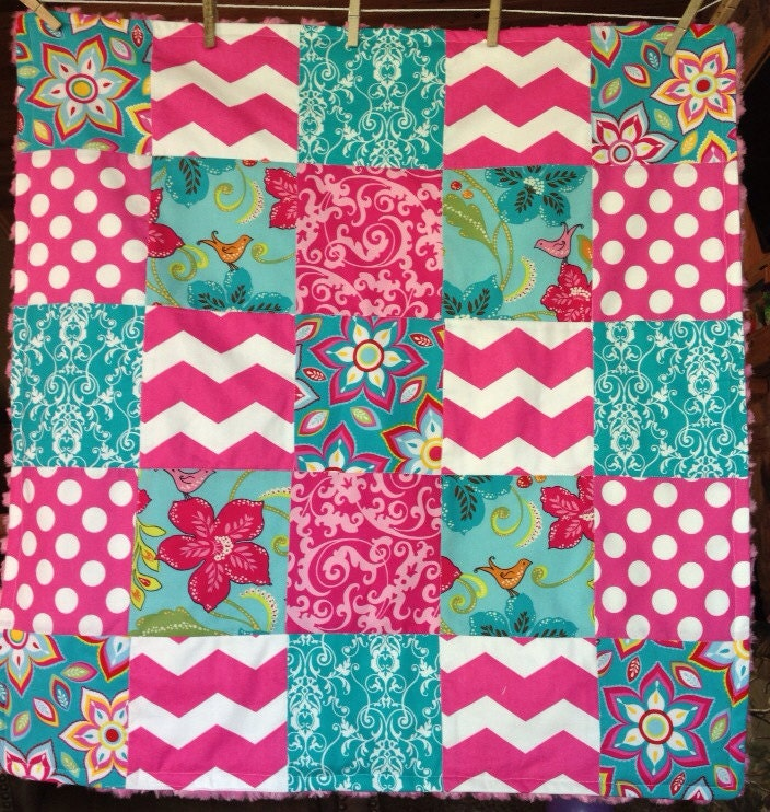 Pink And Teal Chevron Baby Quilted Blanket By CandysPhotoProps