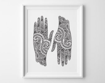 Yoga Print, Yoga Gift, Bohemian Hands Inspirational Print, Yoga Studio Decor Yoga Poster, Mehndi Black and White Art Christmas Gift for Yogi