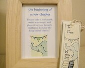 """Adorable """"B is for Book"""" Elephant Bookmarks with Sign for Baby Shower Book Theme - Proceeds to Charity"""