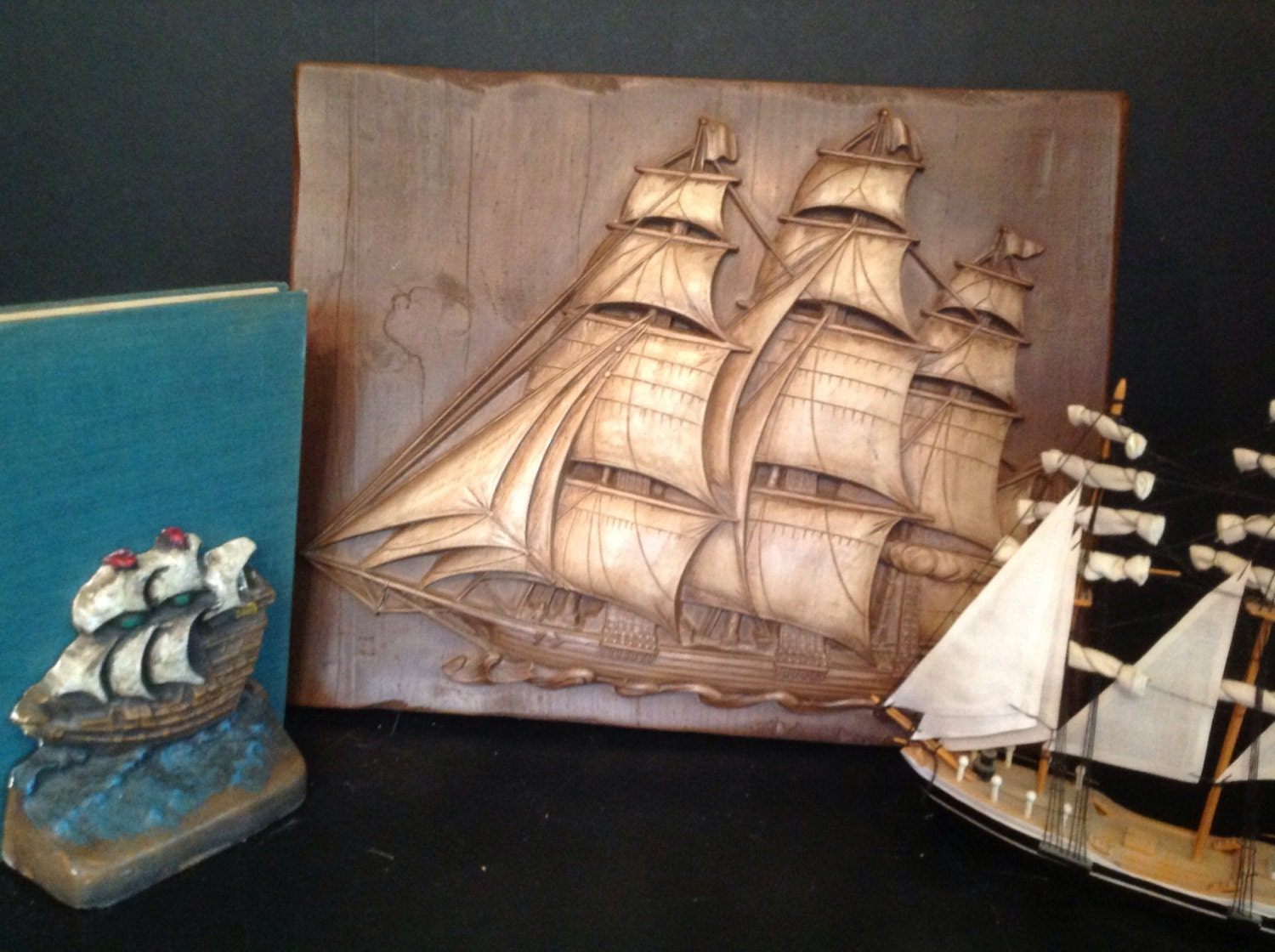 Chalkware picture ship vintage