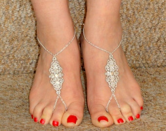Silver grecian style barefoot sandals, Silver barefoot sandals, Ankle slave foot, Barefoot sandals UK,  Bare foot sandals