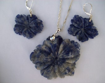 SALE! Was 29.95 Sodalite Carved Flower Pendant and Earring Set - Sterling