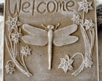 DRAGON FLY WELCOME Sign Made Of  Sand Made In Florida
