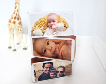 Personalized Baby or Pregnancy Photo Wood Blocks great baby shower or newborn gift, Set of 3