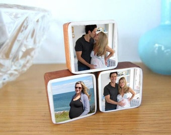 Mother's Day Gift, Custom Handmade Baby or Pregnancy Photo Wooden Blocks, newborn gifts, nursery and kids' rooms, Set of 3