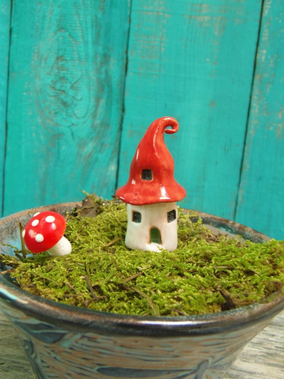 Fairy home with swirly red roof- OOAK porcelain mini house- handmade ceramic miniature