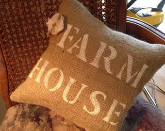 "Burlap ""FARMHOUSE"" Pillow"