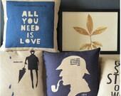 "Linen pillow cover Decorative Throw Pillow Cushion Cover Word printed London rain sherlock deer pillowcase home decor 18"""