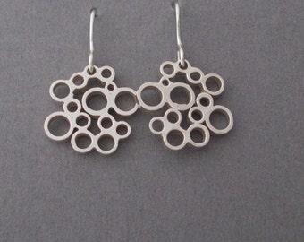 Sterling silver 'bubble' drop earrings - mid size