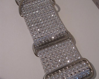 """Taylor's Wedding Bling.  2"""" White Bling, Faux Rhinestone Martingale or Quick Release Dog Collar"""