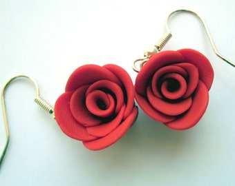 Red Polymer Clay Rose Earrings, Rose Earrings, Rose Jewellery, Flower Jewellery, Red Earrings, Red Jewellery, Rose Earrings, Clay Jewellery
