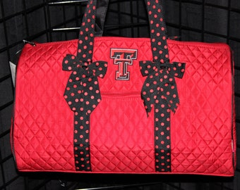 Machine Embroidered Quilted Duffle Bag- Texas Tech