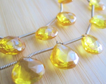 Zircon Beads, Natural Yellow Zircon Beads, Luxe AAA, Faceted Briolettes, 10mm Briolettes