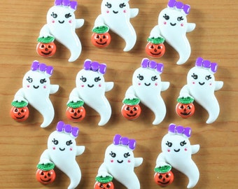 10pcs Ghost Boo Girly Baby w/ Pumpkin Halloween Cabochons Resin Flatbacks Scrapbooking Girl Hair Bow Center Crafts Making Embellishments DIY