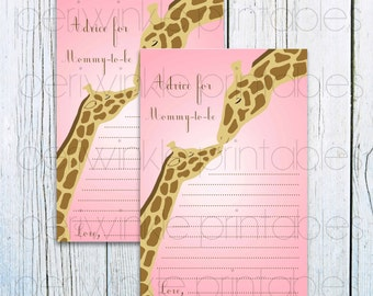 Advice for Mom-To-Be, INSTANT DOWNLOAD, Printable Advice Cards, Pink Giraffe Baby Shower, Baby Shower Activity, Pink and Brown, Diy Shower