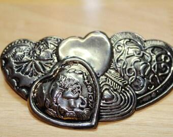 Gold Toned Heart Hair Clip