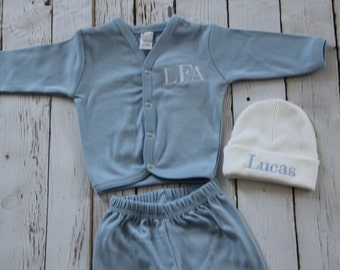 Monogrammed Baby Boy Coming Home Outfit - Beanie, Button Down Shirt, Pants