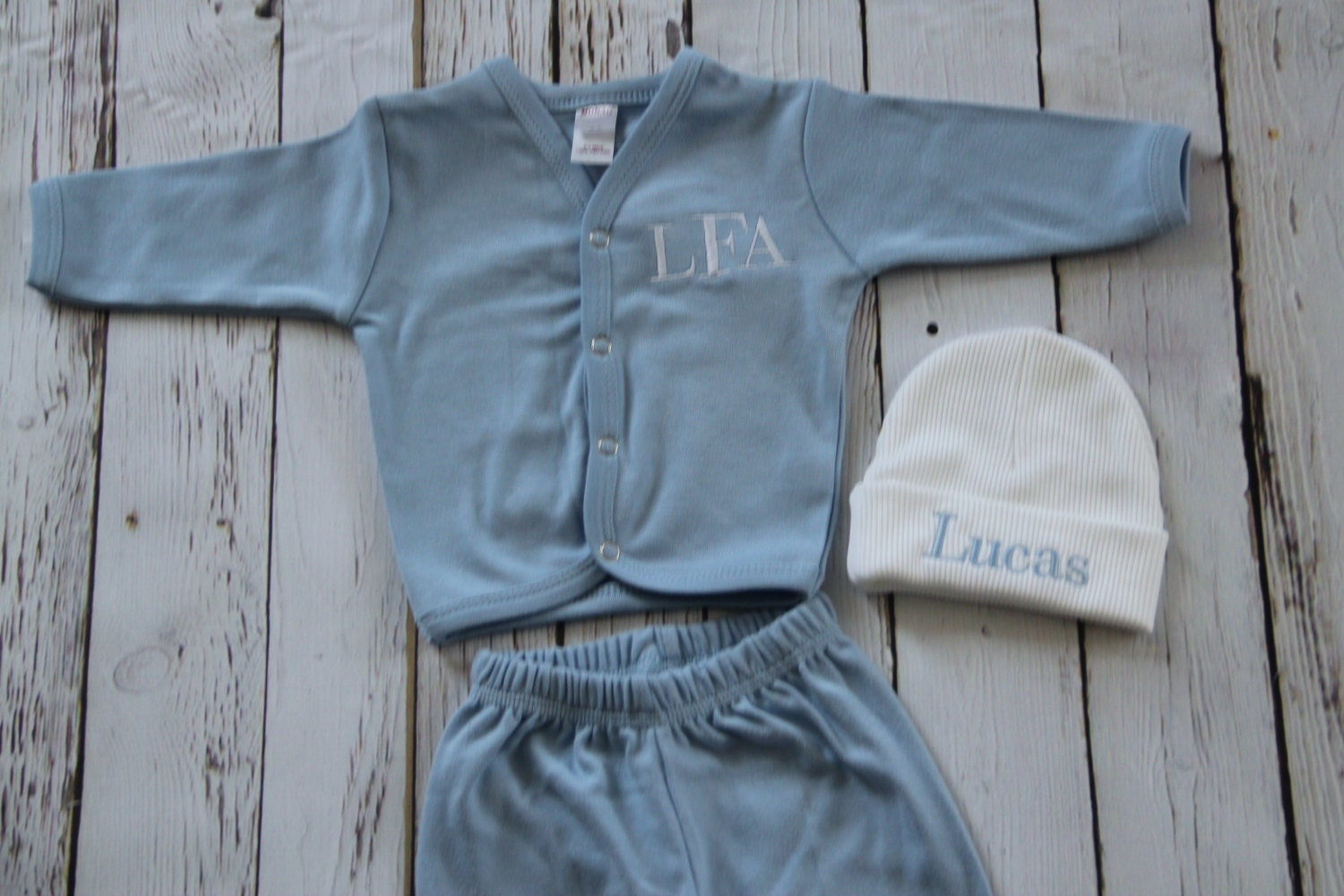 Monogrammed Baby Boy Coming Home Outfit Beanie Button Down