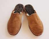 Unisex Light Brown handmade slippers, made with suede leather sheep skin and Fur. The Cozy walking