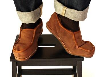 Μens Slippers, Shoe Slippers, Leather Slippers, Brown Slippers, Warm Slippers, Fur Slippers, Gift for Him, House Slippers, Handmade Slippers