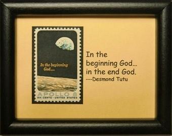 Apollo 8 -In the beginning God...-Handmade Framed Postage Stamp Art 0141W