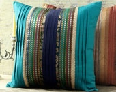 40%OFF,Teal/blue brocade silk throw pillow/cushion cover,accent pillow,decorative couch pillow,indian bedding,outdoor pillow,Indian cushion