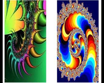 """Digital Download Sheet - Fractals - Fractal Dominoe - Fractal Pendants -  Fractals Jewelry - 1"""" x 2"""" Rectangle - Printable Images - DDP28"""