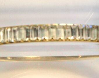 36 Clear Cubic Zirconia Begets on Goldtone Bangle Bracelet
