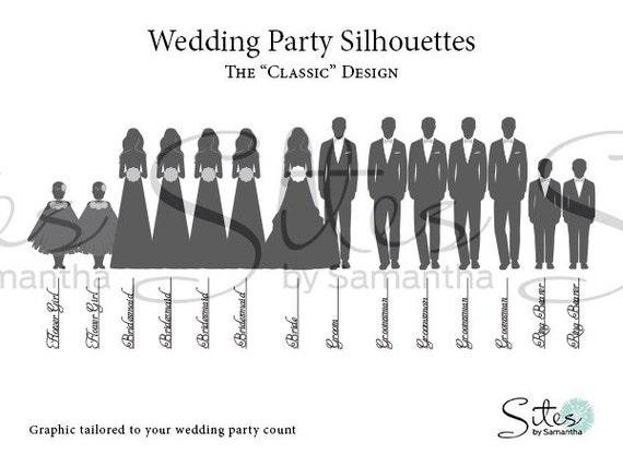 items similar to wedding party silhouettes the classic design digital file on etsy. Black Bedroom Furniture Sets. Home Design Ideas